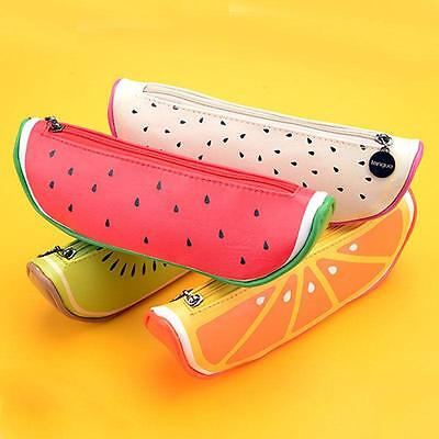 Fruit Pencil Pen Case Stationary Cosmetic Makeup Storage Zipper Bag LG
