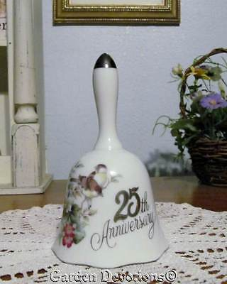 Fine Porcelain 25th ANNIVERSARY SILVER BELL Flower Blossoms and Chickadees Birds
