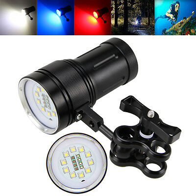 10x XM-L2+4xR+4xB LED Photograph Video Scuba Diving Underwarter Flashlight Torch