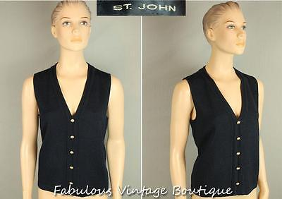 ST JOHN USA Navy Blue Top Faux Button Down VEST Sleeveless Jacket M