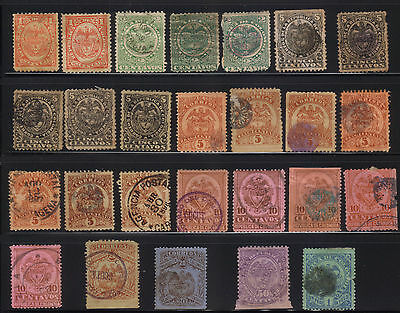 Colombia - 1892-99 Issues to 1 Peso - Various Used in Mixed Condition