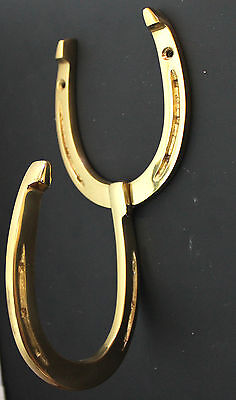 SOLID BRASS HORSE SHOE Home Bath Hat Coat Towel Wall Tack Barn Hanger Hook 6750