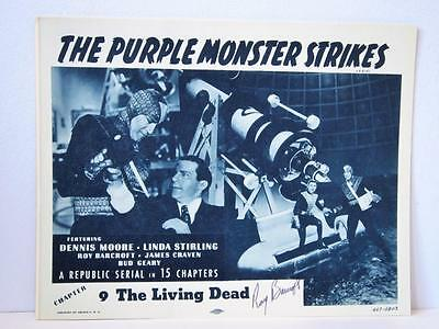 Set 1957rr THE PURPLE MONSTER STRIKES Ch 9 Lobby Cards TC & 1 Sign ROY BARCROFT