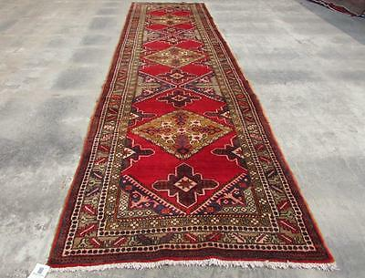 3'9X14'0 hand knotted tribal Persian Rug Vintage Woolen  Oriental Carpet  28