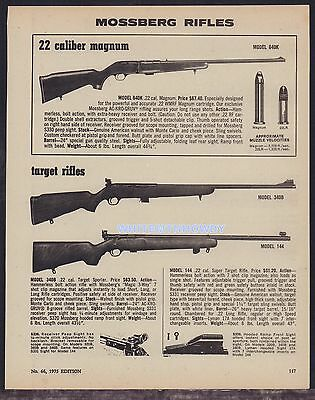 1973 MOSSBERG 640K, 340B, 144 Rifle AD vintage advertising w/original prices