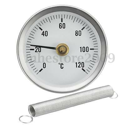 63mm Dial Metal Pipe Thermometer Clip On Temperature Gauge With Spring 0-120º C