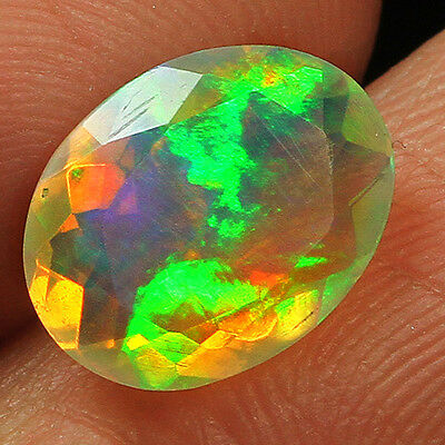 1.4CT 100% Natural Ethiopian Welo Opal Faceted Cut Play Of Color QOL7558