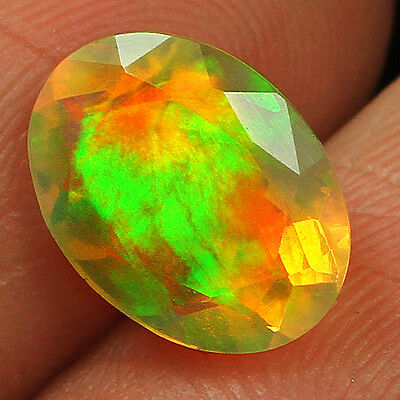 1.4CT 100% Natural Ethiopian Welo Opal Faceted Cut Play Of Color QOL7557