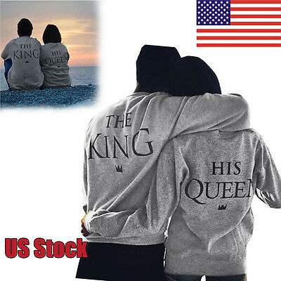 New Women Men QUEEN KING Long Sleeve Shirts Tops Couple Sweatshirt Hoodies Gray