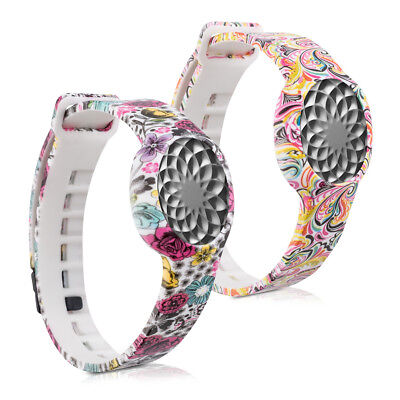 2X Silicone Spare Bracelet For Jawbone Up Move Flowers Dots Multicolor Dark Pink