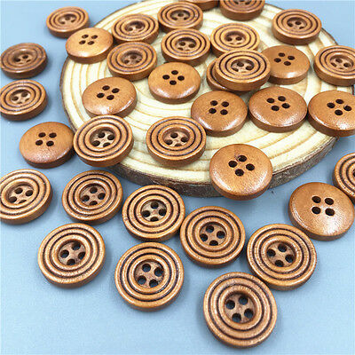 DIY 50X Brown 4 Holes Wooden Buttons Sewing Scrapbooking Crafts  15mm