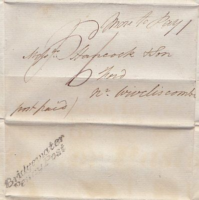 * 1832 BRIDGEWATER PENNY POST JOHN ROWE LETTER TO HANCOCK AT FORD MORE TO PAY 1d