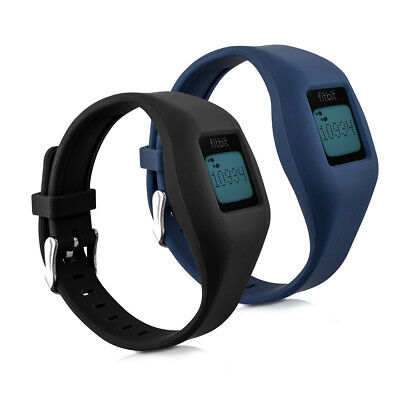 kwmobile 2X SILICONE SPARE BRACELET FOR FITBIT ZIP BLACK FITNESS CLOCK CLASP