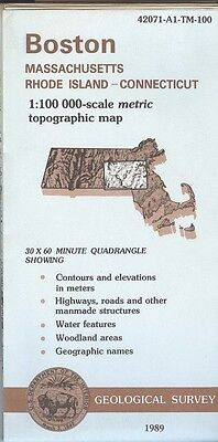 US Geological Survey topographic map metric BOSTON 1989 Massachusetts RI CT