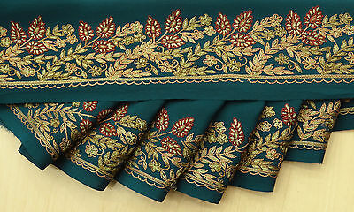 India Vintage Sari Border Embroidered Sewing Trim Wrap Blue Ribbon Used Lace 1YD