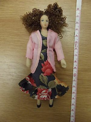 Dolls House Porcelain Doll Woman Dressed 1:12 Scale