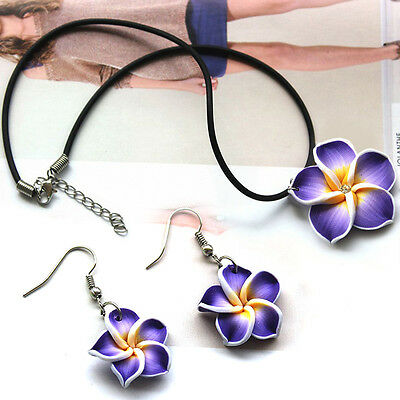 Hawaii Plumeria Handcrafted Flower Fimo Polymer Clay Stud Earrings+Necklace set