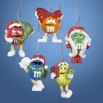 Mini M&M's Red Orange Yellow Blue and Green Christmas Ornaments Set of 5 MM3901