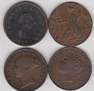 1775/1807/1827 & 1854 Old Copper Halfpenny Coins In Fine Or Better Condition