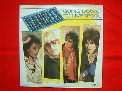"""Bangles- Going Down To Liverpool UK 7"""" 45 single on CBS Records from 1984"""