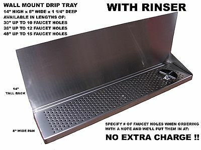 "Draft Beer Tower Wall Mt Drip Tray 30""  Long With RINSER  DTWM30SS-8-R"