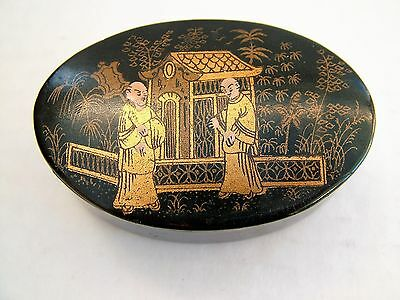 19th C Lacquered Japanned Snuff Box Oriental Gilt & Painted