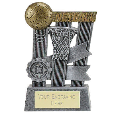 Netball Shooter Ball Ribbon Trophy Resin  Range 3 Sizes Available Engraved Free