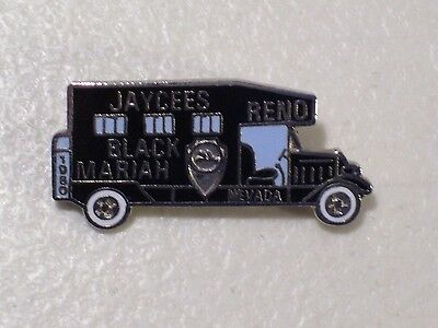 Vintage Reno Nevada Black Mariah Paddywagon Jaycees Enamel Lapel Hat Pin 1980
