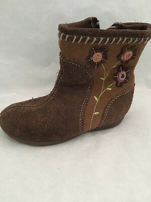 STRIDE RITE Size 7M Girls Baby Toddler Greta Leather Brown Boots 7