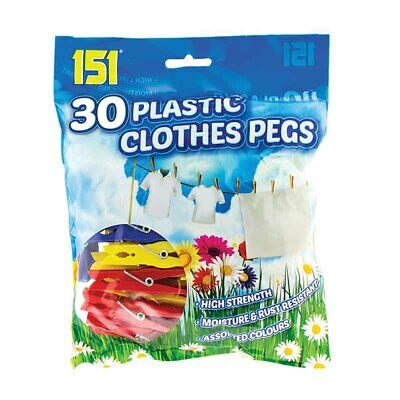 80 Plastic Spring Action Clothes Pegs Assorted Colours NEW!!