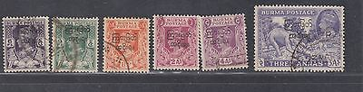 "£1.49 start - A group of 5 ""BURMA"" KGVI Trans Interim Govt. OPTD. issues (1947)"