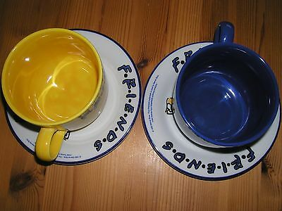 2 x 1998 STAFFORDSHIRE TABLEWARE FRIENDS TV SITCOM LARGE CUPS/MUGS & PLATES