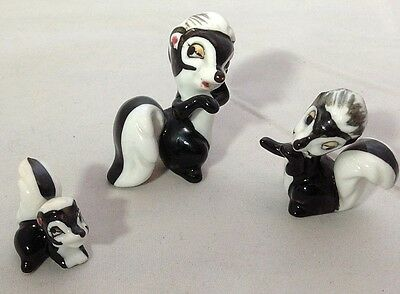 Set of 3 Vintage Miniature Bone China Skunk Family