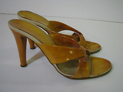 BUTTERSCOTCH MARBLE Patent Leather VINTAGE 70/80's HIGH HEEL SHOES Disco 7 1/2 M