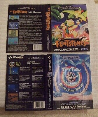 Sega Mega-Drive Case Cover Artwork ** The Flintstones & Tiny Toon Advent ** Used
