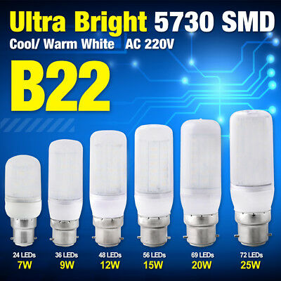 B22 Bayonet 5730 smd LED Corn Bulb Cool/Warm White Lamp Light Milky Cover 220V
