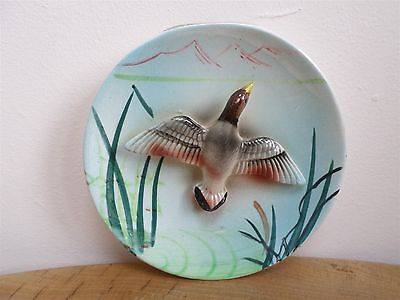 VINTAGE 50's FLYING DUCK AMONGST REEDS WALL PLAQUE unusual!
