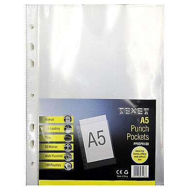 100x Texet Premium Quality A5 Extra Capacity Clear Punched Pockets PPA5PK100