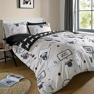 Pug Walkies Single Duvet Cover Set Reversible Bedding Cream & Black