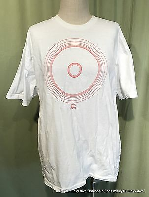 Rare 80's Vintage Fiesta Dinnerware T-Shirt XL White Tee w Red Ringed Plate