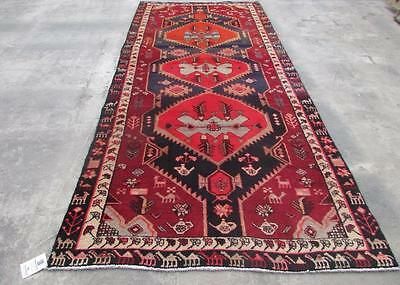 4'4X9'11 hand knotted tribal Persian Rug Vintage Woolen  Oriental Carpet  34