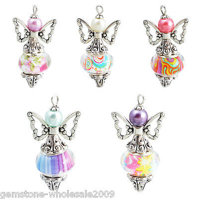 Wholesale  Fixed Mixed Angel Multicolor Pattern Metal Charms Pendants Jewelry 50