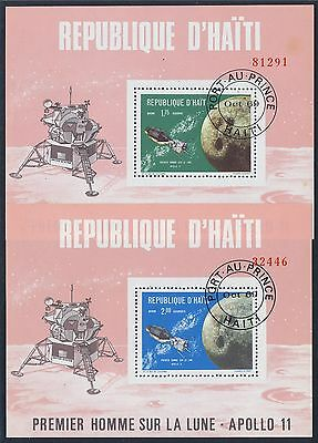 HAITI 1969 SPACE APOLLO-11 FIRST MAN ON THE MOON souv. sheets Mi# bl. 39-42 used