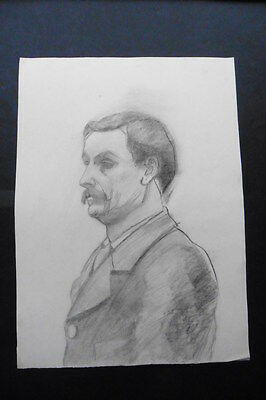 FRENCH SCHOOL 19thC - FINE PORTRAIT OF A MAN - CHARCOAL DRAWING