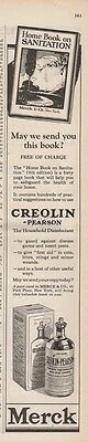 1923 Merck Creolin Pearson Household Disinfectant Sanitation Vintage Print Ad