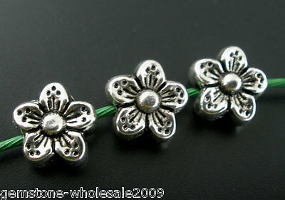 50PCS Wholesale Lots Silver Tone Flower Spacer Beads 9mm
