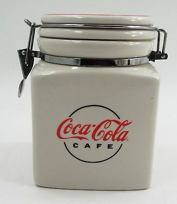 Retired 2000 Gibson Ceramic Coca Cola Cafe Retro Canister Jar w/ Locking Lid