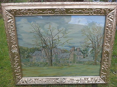 Vintage framed needlepoint / tapestry country house scene picture