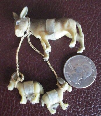 VTG TINY collectibles  DONKEY & BABIES  figurines MINIATURE statue Plastic