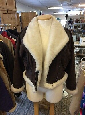 Vintage*WILSONS Adventure Bound*Women's Brown Suede Leather Bomber Jacket*Size L